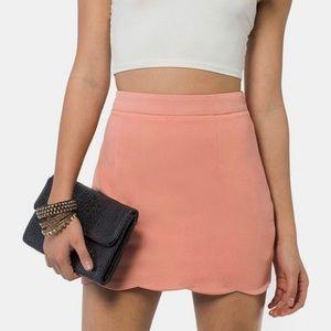 Tobi Tidal Wave Scalloped Salmon Pink Mini Skirt